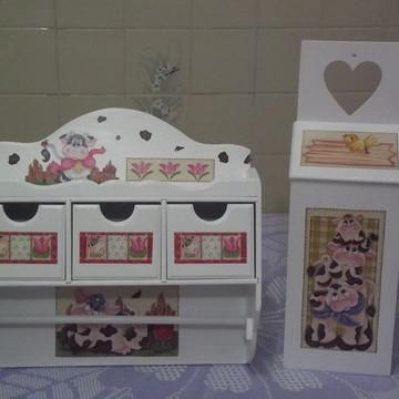 kit para cozinha Vaquinha Branco