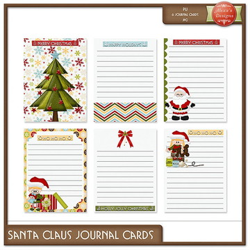 Kit Digital Santa Claus Journal Cards