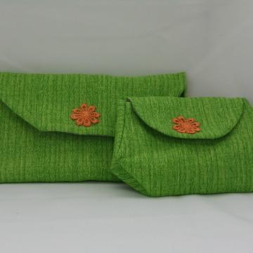 Carteira E Porta Moedas Em Tecido Verde