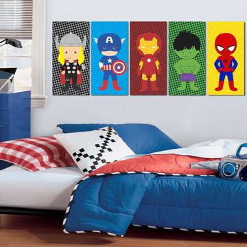 5 Quadros Vingadores Cute