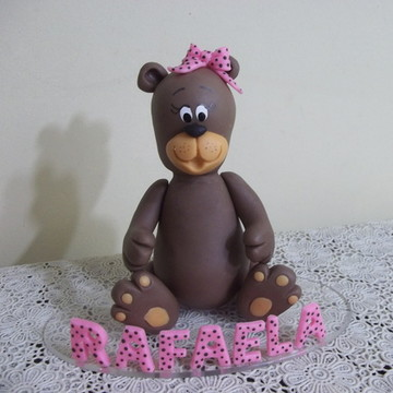 Topo Ursa marrom e rosa