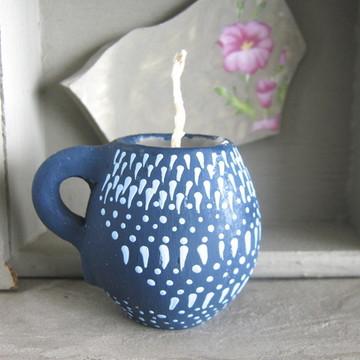 Canequinha com vela - 'Azul e Azul'