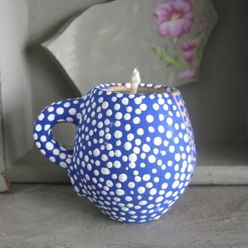 Canequinha com vela - 'Azul e Branco'