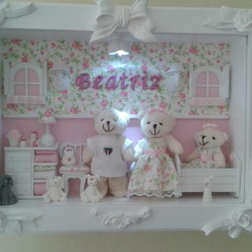 Cenário Urso c vidro, led, bebê no berço