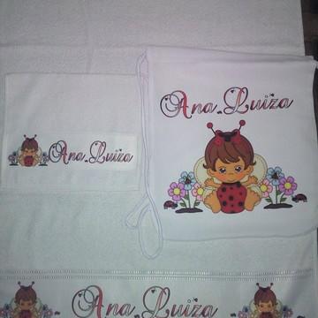 kit toalha banho personalizado Joaninha