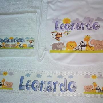 kit toalha banho personalizado Safari