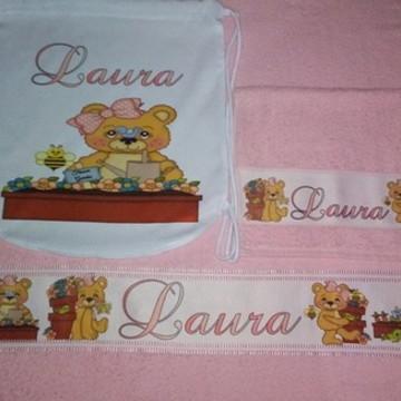 kit toalha banho personalizado Ursinha