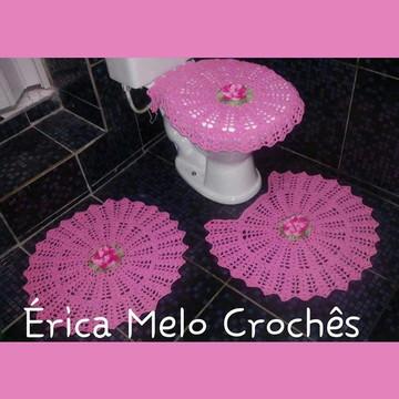 Jogo de Banheiro Rosa de crochê