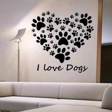 Adesivos Parede Coração Patinhas Dog