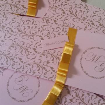 Convite casamento perolado metalizado