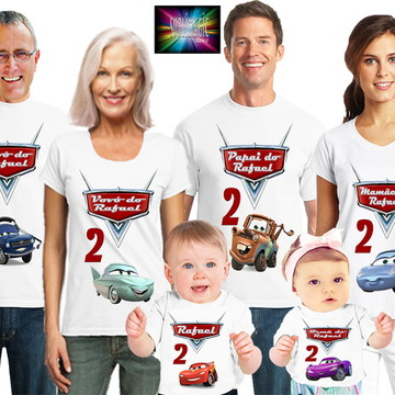 Kit 6 Camisetas Carros