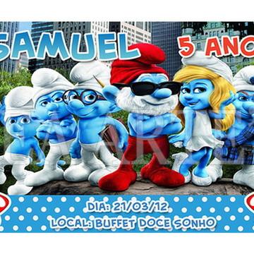 Arte Convite Digital - Smurfs