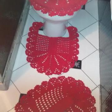 Jogo de banheiro em crochê vermelho