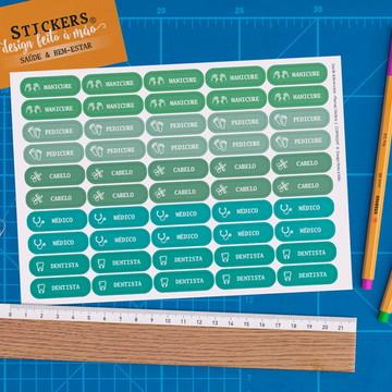 Cartela 50 Stickers Saúde e Bem-estar