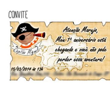 CONVITE DE ANIVERSÁRIO - Tema Piratas