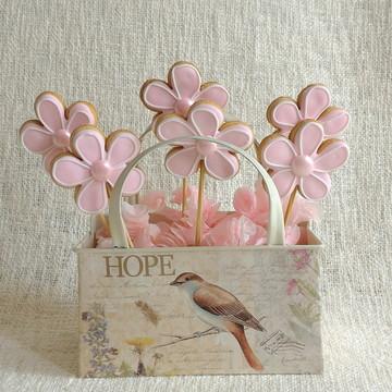 Pirulito de biscoito - Flores