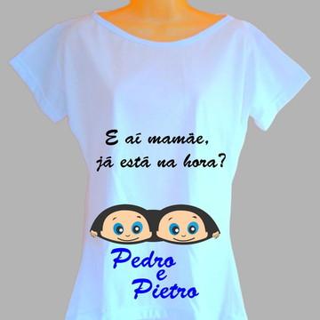 Camiseta Gestante Gêmeos Personalizada