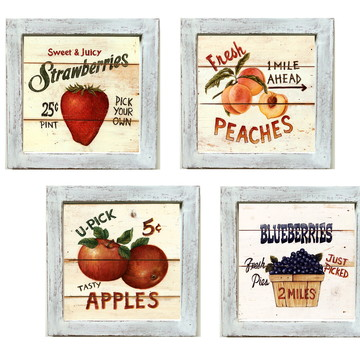 Conjunto de quadros Frutas Vintage Pátina Provençal