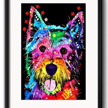 Quadro West Highland Terrier Pop Art com Paspatur