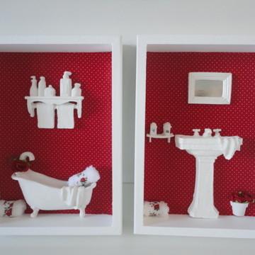 Jogo De Quadros Banheiro ou Lavabo