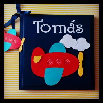 Livro Do Bebê personalizado menino marinho aviãozinho