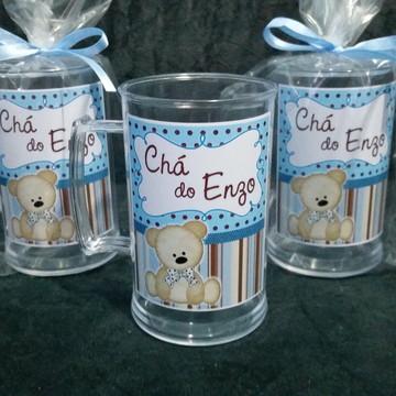 Caneca Chá de Bebê - Urso Marrom e Azul