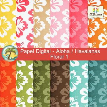 Kit c/ 12 - Papel Digital Aloha Floral 1