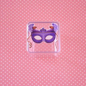 Caixinha de acrílico com adesivo – máscara carnaval