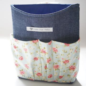 Lixeira Organizadora Carro Jeans/floral