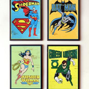 Jogo de quadros Heróis vintage DC