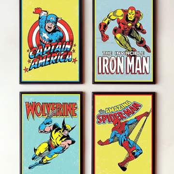 Jogo de quadros Heróis Marvel vintage