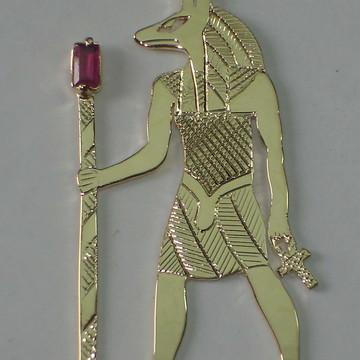 pingente Deus Anúbis prata