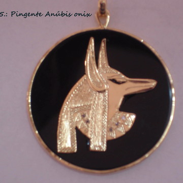 pingente Deus Anúbis c/ônix prata