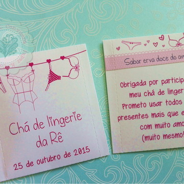 Convite Chá de Lingerie - sachê de chá