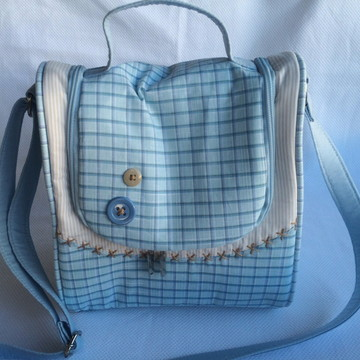 Bolsa para bebê menino quadriculada azul