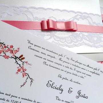Convite Casamento Renda passarinhos rosa