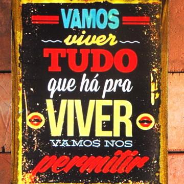 Quadro Vintage - Mensagem viver