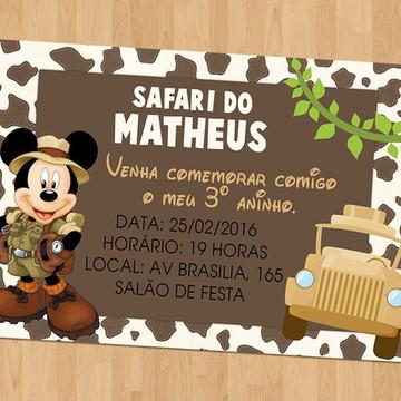 Convite - Tema Mickey Safari