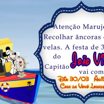 Convite Personalizado Mickey Marinheiro