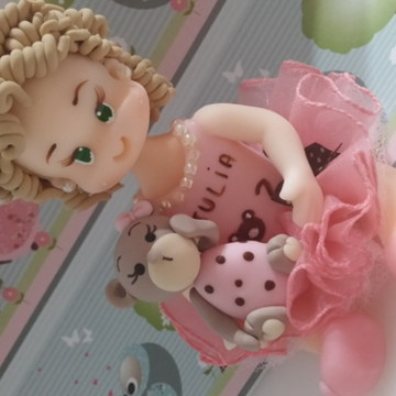 Topo menina marrom e rosa