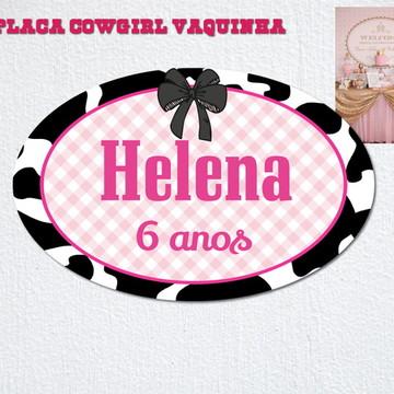Placa Impressa Vaquinha Xadrez LUXO Cow