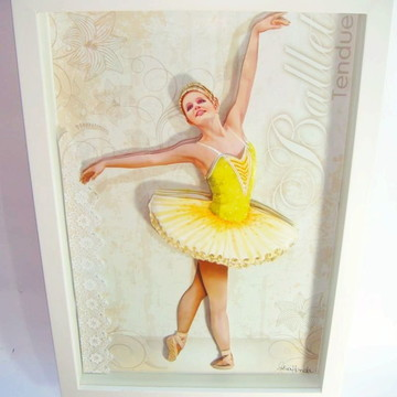Quadro arte francesa bailarina amarelo