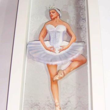 Quadro arte francesa bailarina branco