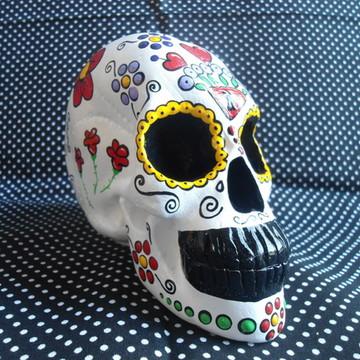 Crânio Mexicano em Gesso Branco