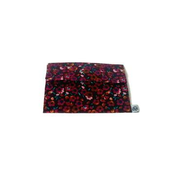 Porta Moedas/ID - Floral Vinho