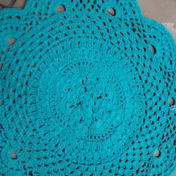 Tapete rustico em crochet turquesa
