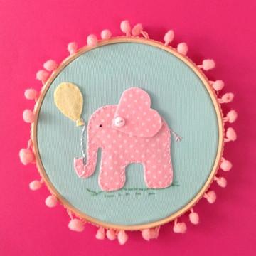 Quadrinho bastidor Elefantinho Rosa