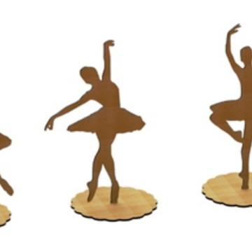 5 Bailarinas MDF-CRU Decoraçao de festas