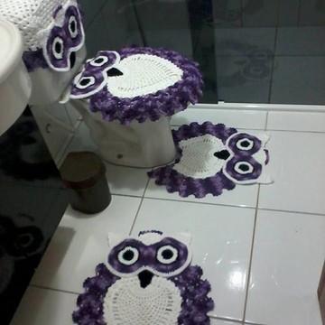 Jogo de banheiro coruja com caixa acopla