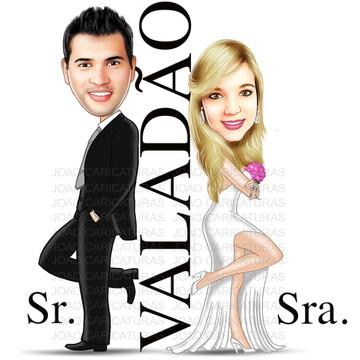 Caricatura digital casamento-Tema sr e sra smith